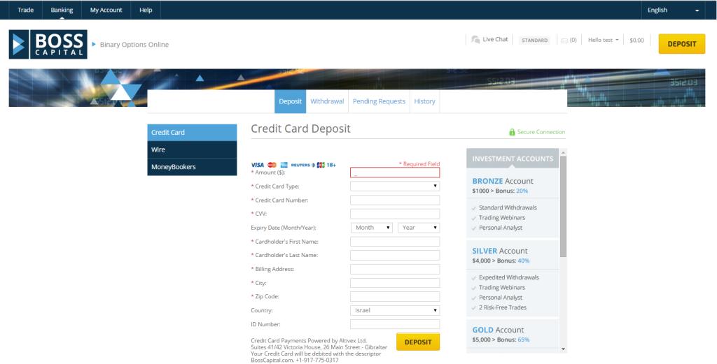 Boss Capital Deposit Page