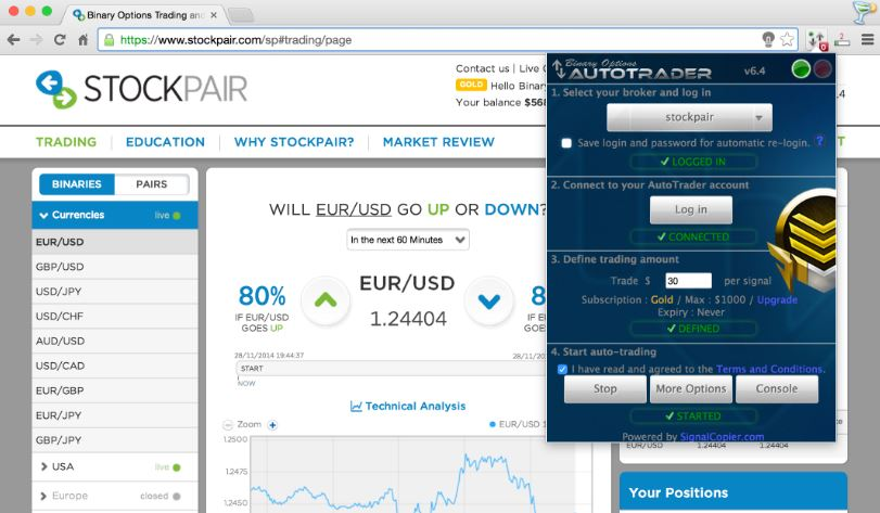 How to do auto binary options