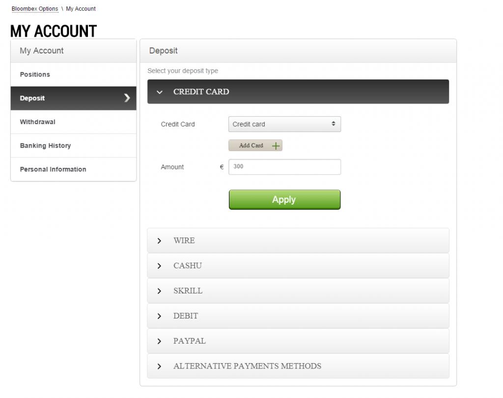 Bloombex Options deposit