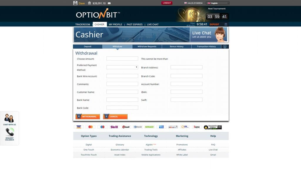 OptionBit Withdrawal