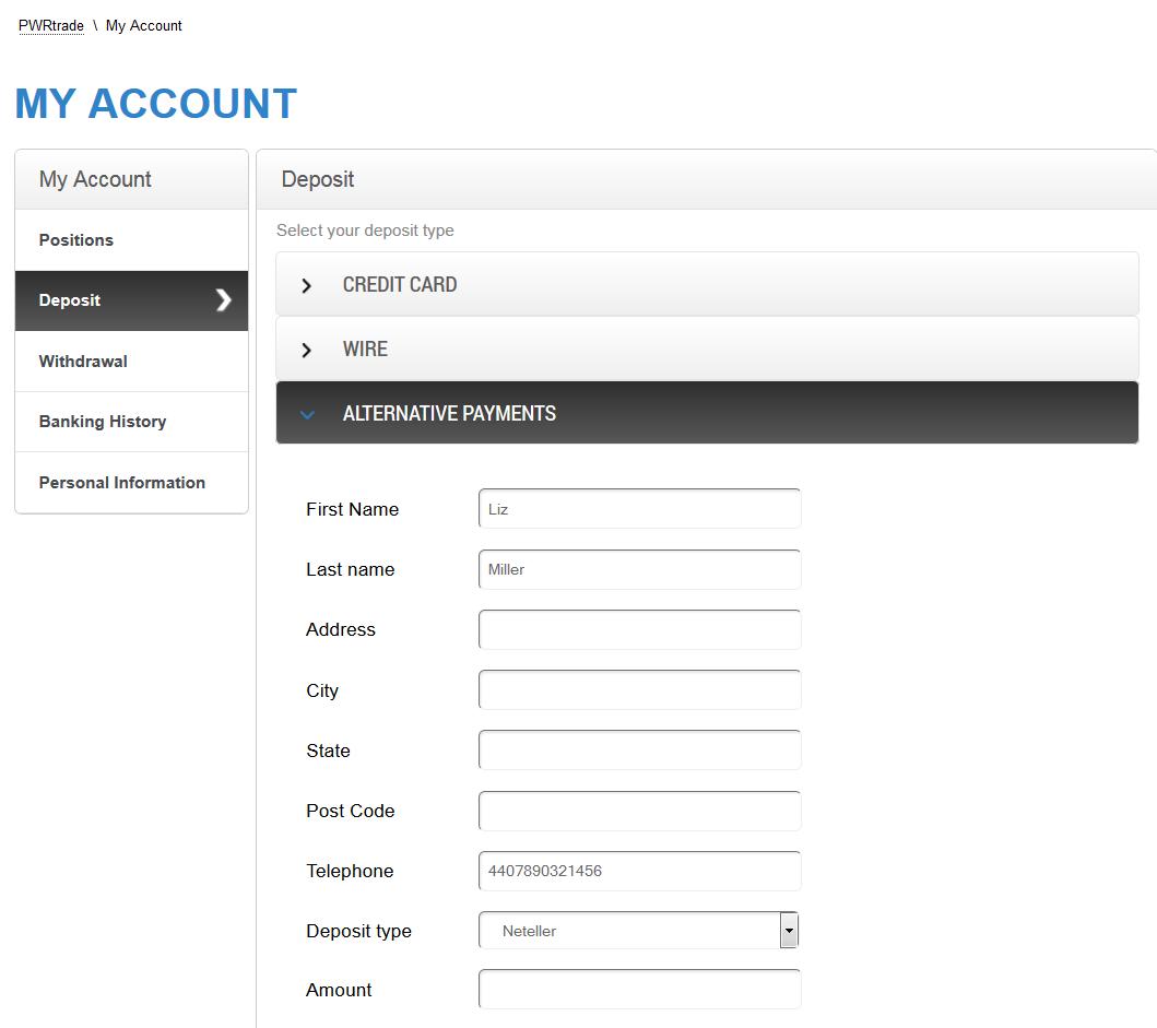 PWRTrade Deposit Page