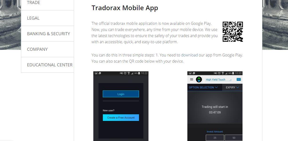 Tradorax Mobile App