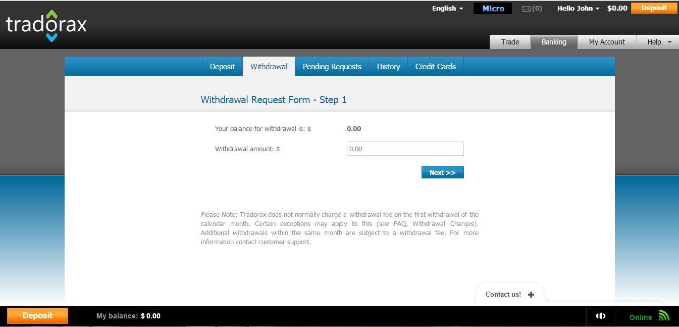 Tradorax Withdrawal Page