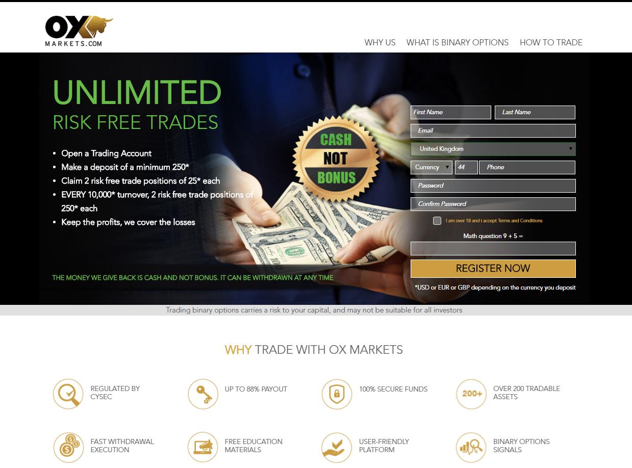 OX Markets Website Preview