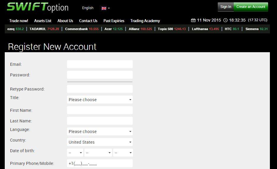 SwiftOption Account Page