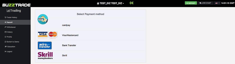 BuzzTrade Deposit Page