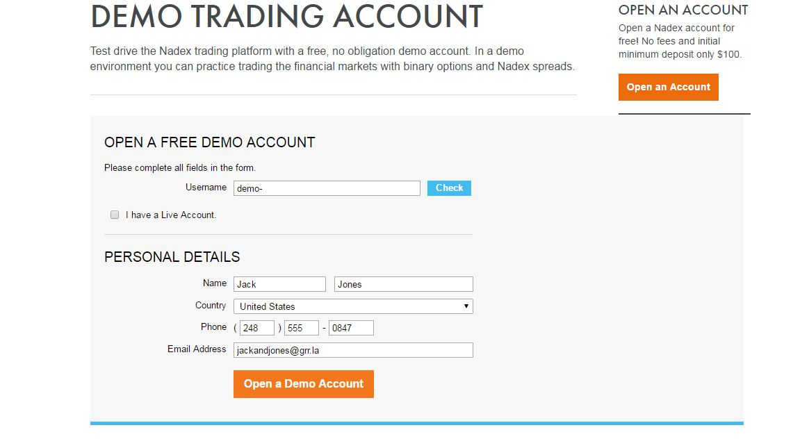 nadex pro binary options demo