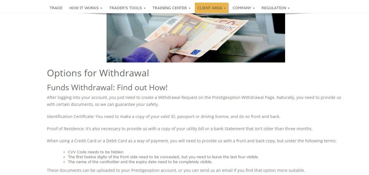 Prestige Option Withdrawal Methods