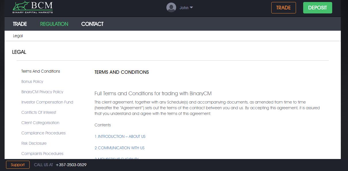 Binary Capital Markets BCM Legal Information