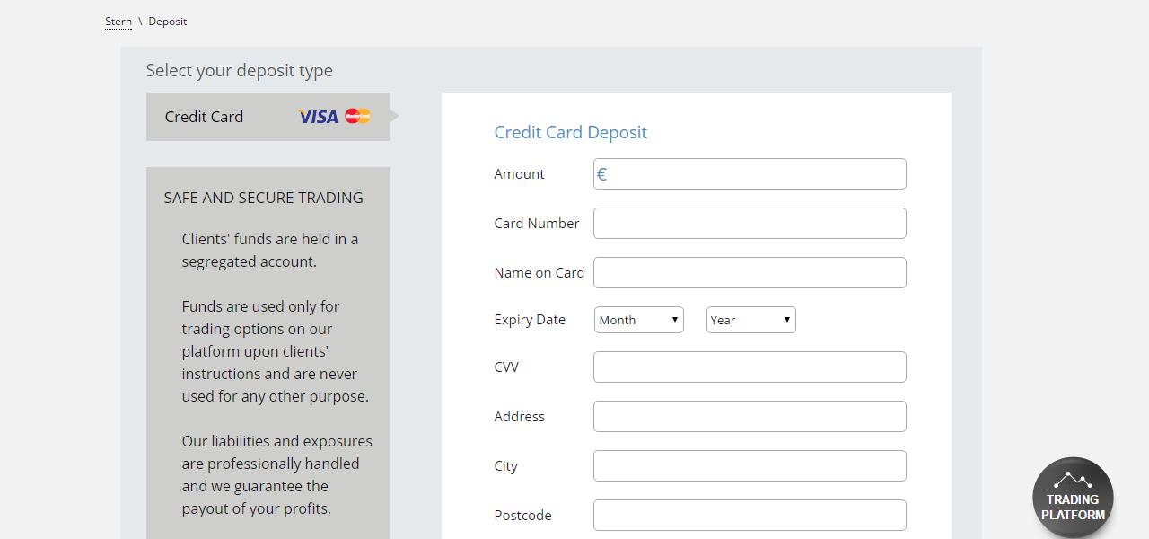 Stern Options Deposit Page