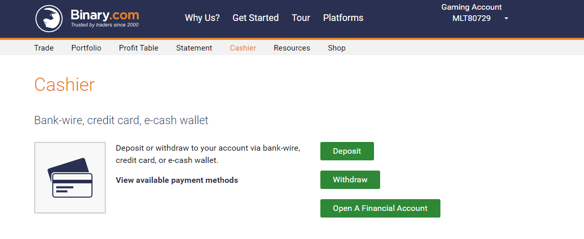 Binary.com Cashier