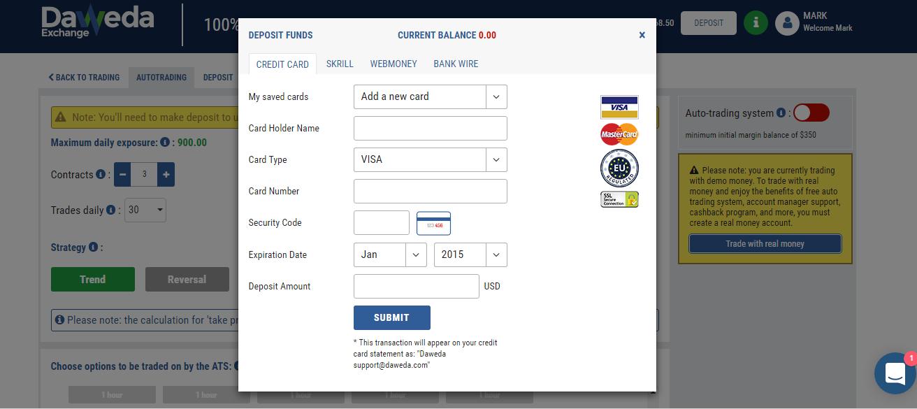 Daweda Deposit Page
