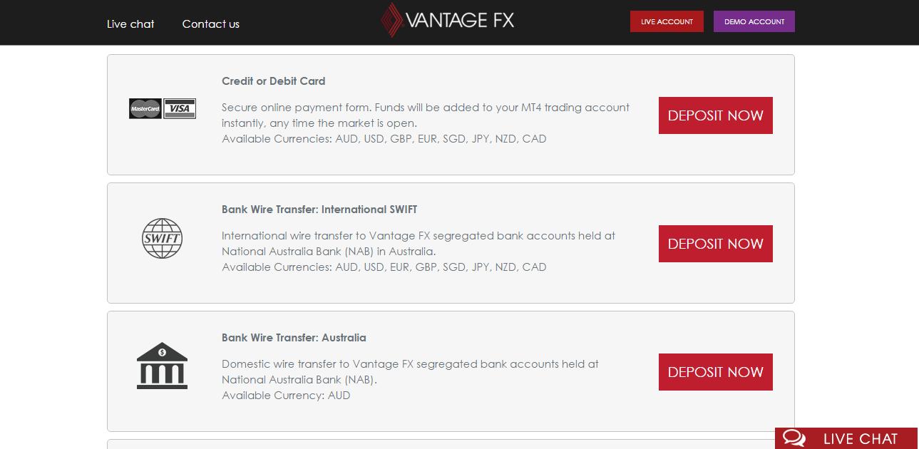 Vantage FX Banking Methods