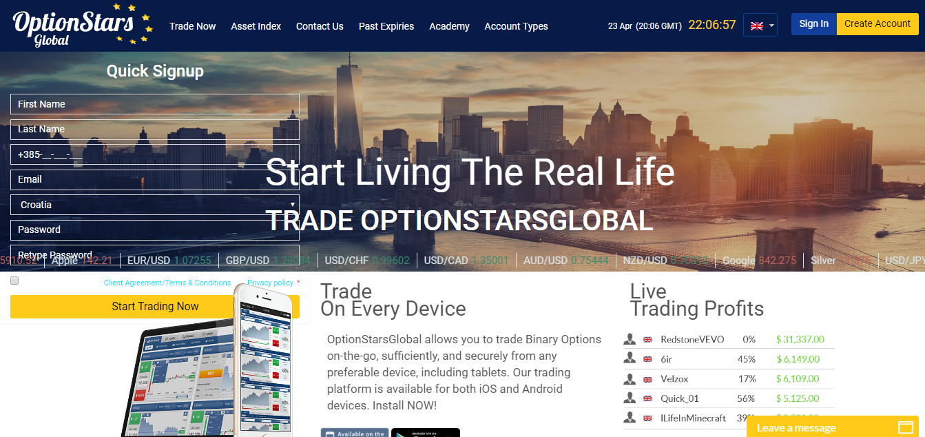 OptionStarsGlobal Home Page