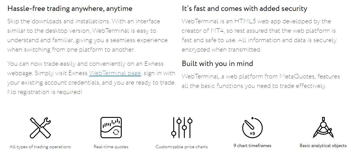 Exness WebTerminal Features