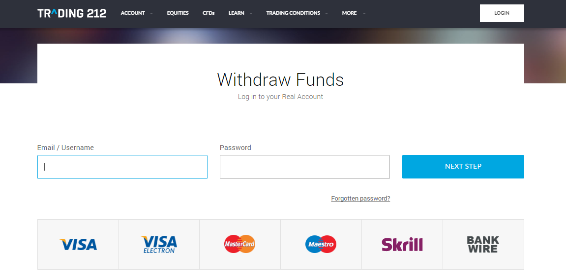 Trading 212 Withdrawal Page