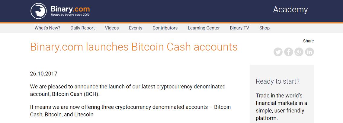 Binary.com Bitcoin Cash Announcements