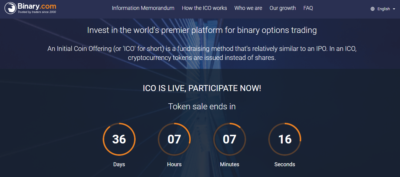 Binary.com ICO Home Page