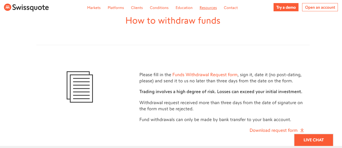 Swissquote Withdrawal