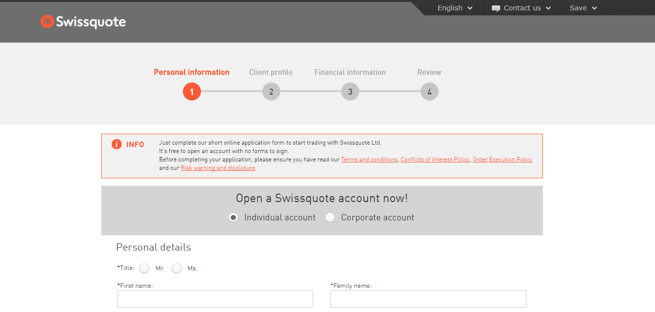 Swissquote Account Opening