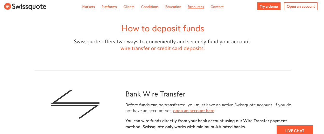 Swissquote Deposit