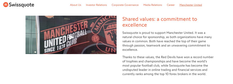 Swissquote Manchester United Sponsorship