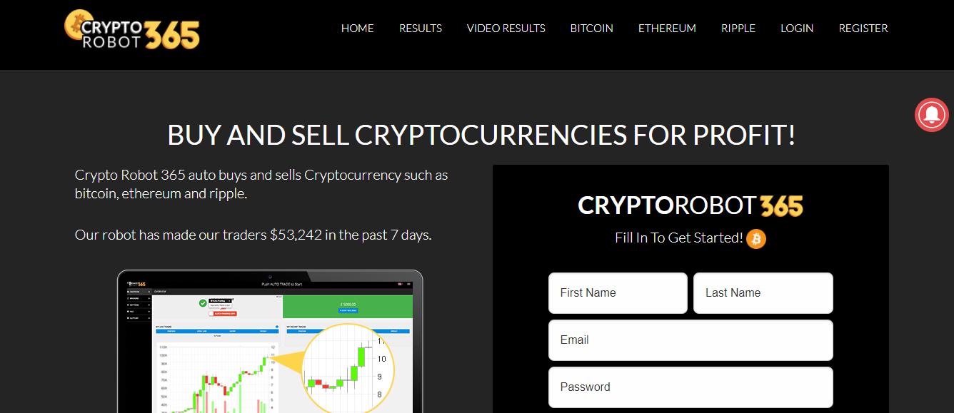 Crypto Robot 365 Home Page