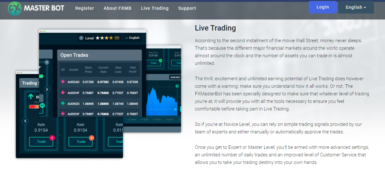 FXMasterBot Live Trading