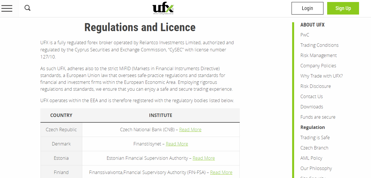 UFX Regulation