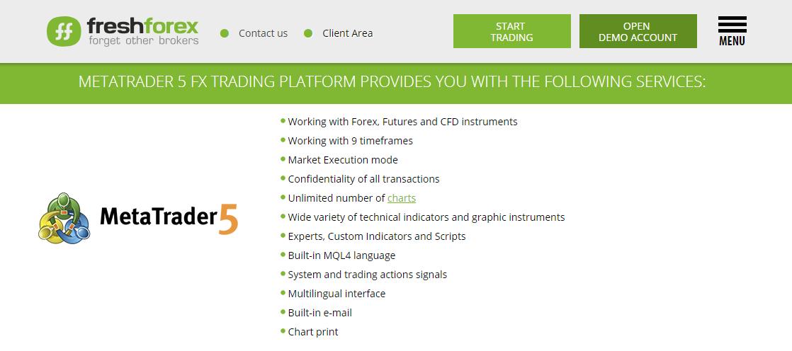 FreshForex MetaTrader 5 Features
