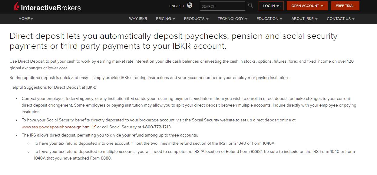 Interactive Brokers Direct Deposit